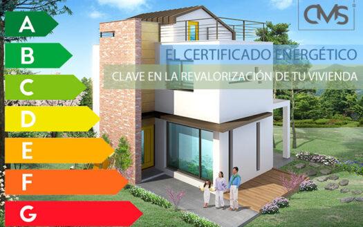 Imagen de vivienda familiar y una gráfica de certificación energética
